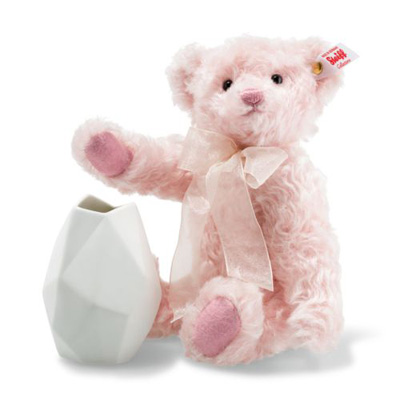 Steiff Rose Teddy Bear with Vase