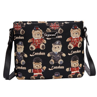 Teddy London Bear Tapestry  Cross Body Bag